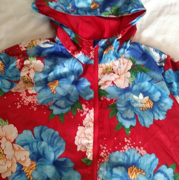 8f36624a41e adidas Jackets   Blazers - ADIDAS Originals floral hoodie windbreaker jacket